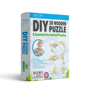 3D Wooden Puzzle 6 Pack - Sea Animals