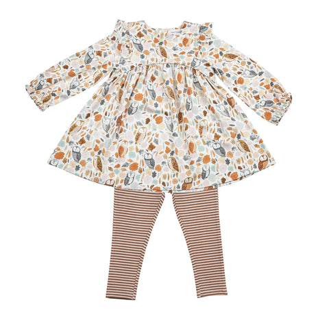 Autumn Owls Ruffle Dress & Leggings Kid