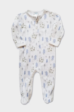 feather baby blue festive deer henley footed romper