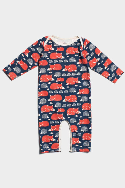 winter water factory foxes & hedgehogs organic romper