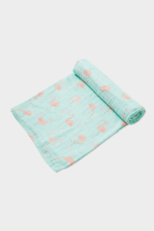 flamingo muslin swaddle blanket