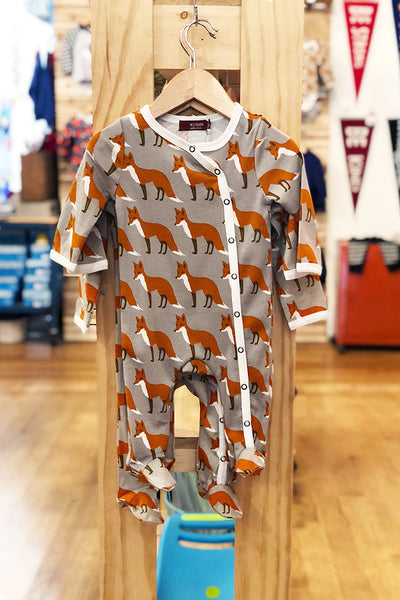 footed fox romper milk barn