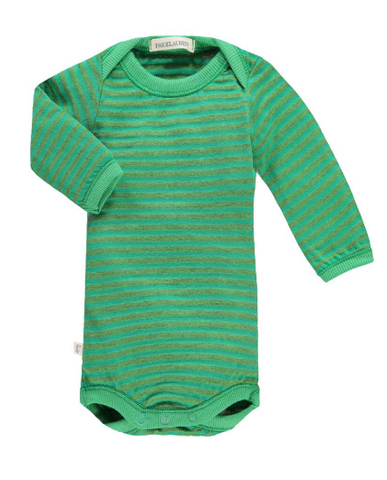 Heathered Green Stripe Onesie