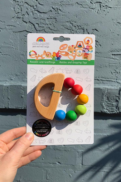 grimm's wooden grasping toy rainbow boat