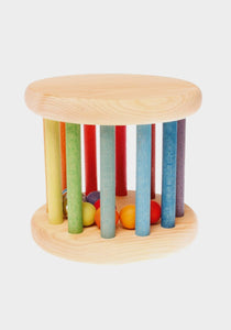 grimm's wooden rolling wheel rainbow bells rattle baby toy