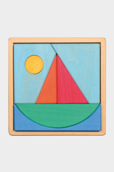 grimm's wooden sailboat puzzle blocks