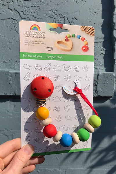 grimm's wooden bead pacifier chain rainbow