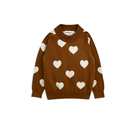 Brown Knitted Heart Sweater