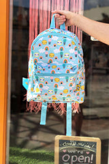 petite monkey hot air balloons backpack blue