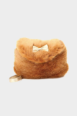 henny and coco fur purse brown