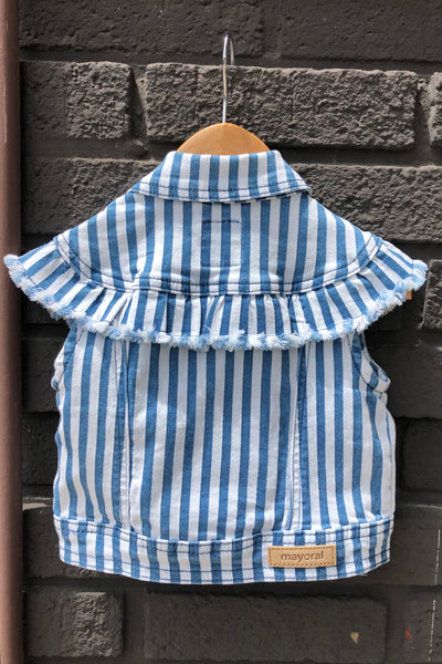 Striped Denim Vest