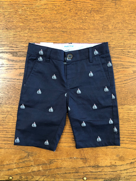 Navy Sailboats Bermuda Shorts