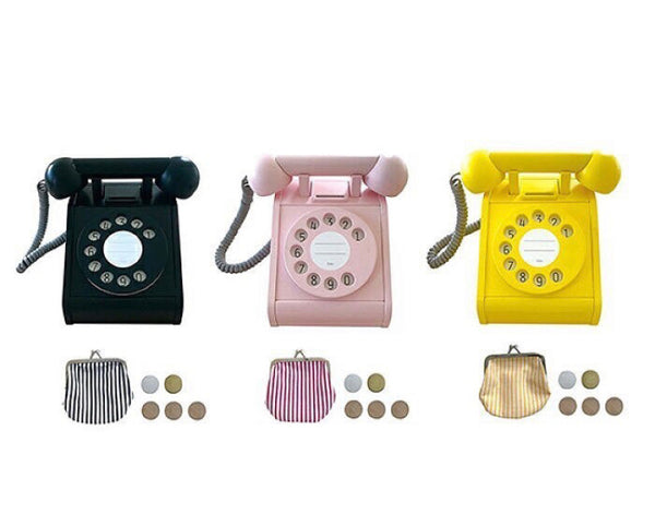 Wooden Coin Telephone Yellow