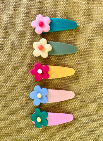 Retro Pop Floral Hair Clip Set
