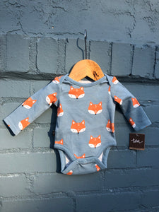 Fox L/S Blue Onesie