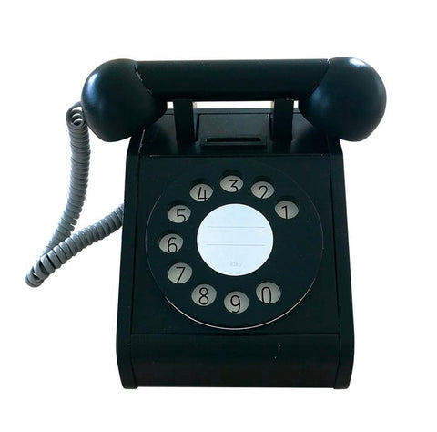 Wooden Coin Telephone Black