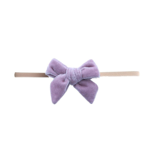 Velvet Bow Skinny Headband Rose