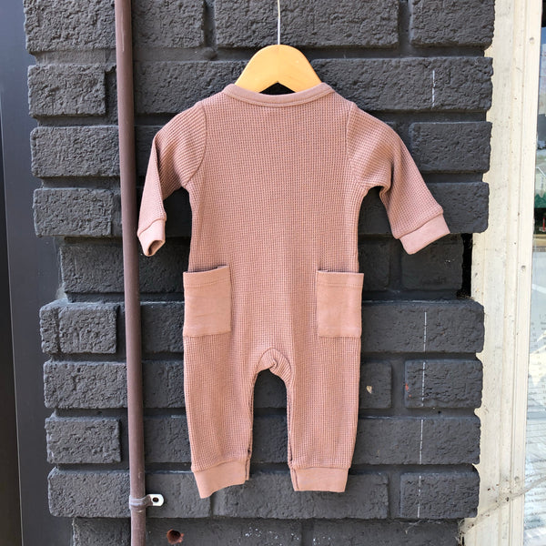 Waffle Button Romper