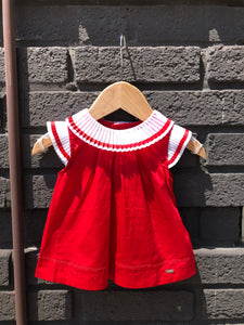 Red Blouse with Organza Collar