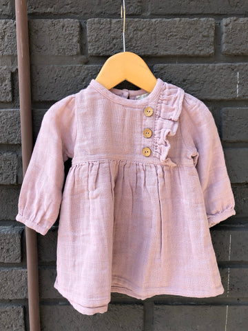 Pink Side Button Dress (Baby)