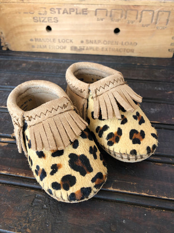 Leopard Print Riley Leather Fringe Baby Moccasins