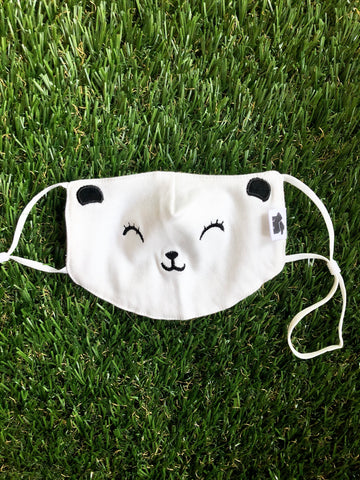 Kids Mask Embroidered Bear Face