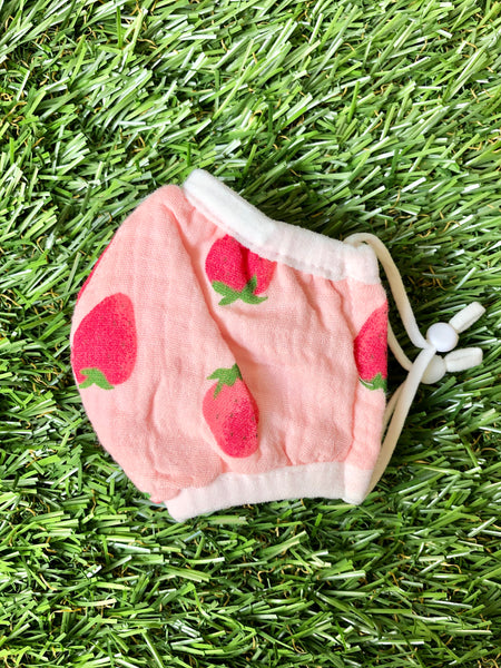 Strawberry Print Kid Face Mask
