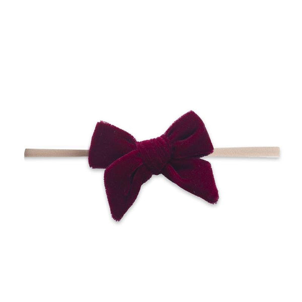 Velvet Bow Skinny Headband Ruby