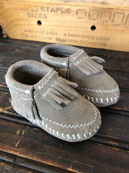 Grey Riley Leather Fringe Baby Moccasins