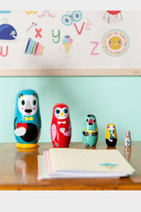 in the woods nesting dolls, petit monkey