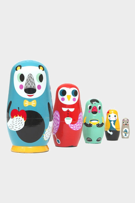 in the woods nesting dolls, petite monkey