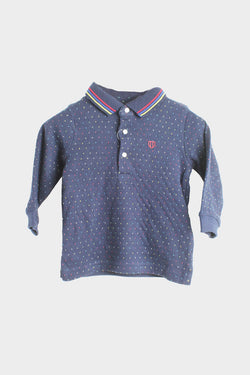 longsleeve color flecked jacquard polo for baby boy