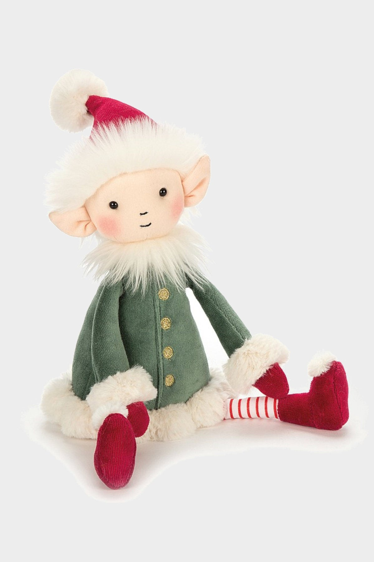 jellycat leffy elf medium red green white cute