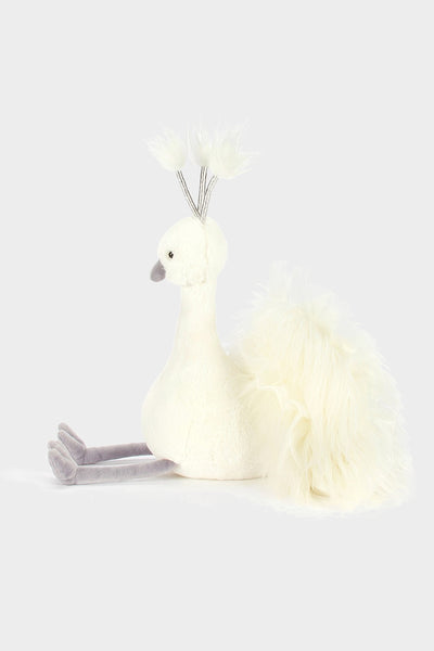jellycat lola wingaling peacock white silver stuffed animal