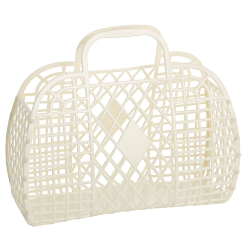 Large Retro Basket- Cream
