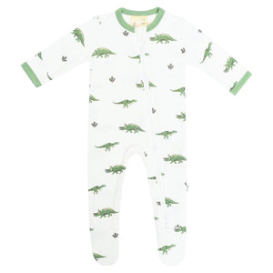 Dino Zipper Footed Romper