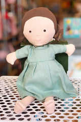 hand made American doll in blue dress