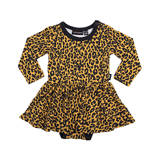Leopard Skin L/S Waisted Dress