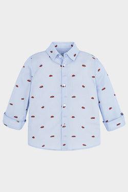 mayoral car print button-up patterned shirt