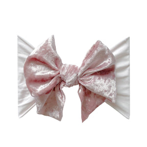 Crushed Ballet Pink Velvet Bow Headband