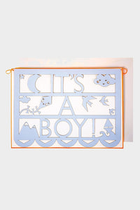meri meri it's a boy garland announcement greeting card