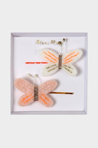 meri meri butterfly felt hair pins slides pink gold