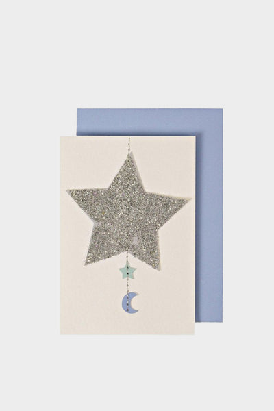 meri meri gift enclosure card blue silver star