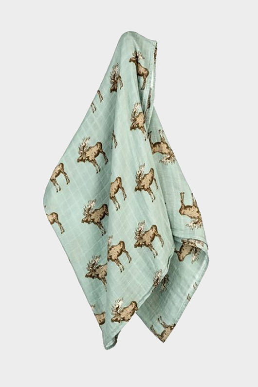 milkbarn bamboo swaddle blue moose with bowtie
