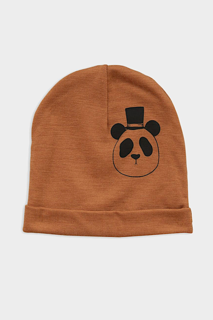 mini rodini panda wool beanie light brown hat