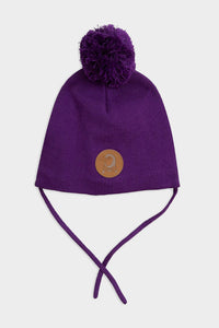 mini rodini penguin hat pompom purple