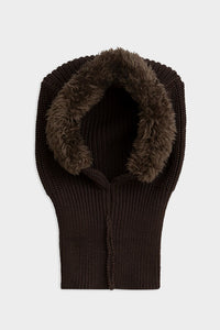 mini rodini knit pile balaclava dark brown fur hat hood