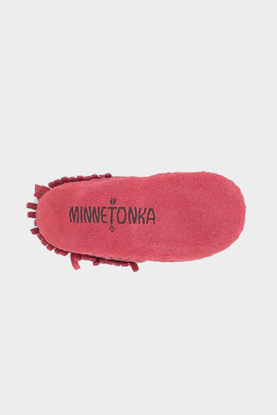 minnetonka riley moccasin pink baby shoe