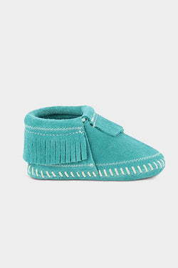 minnetonka riley moccasin turquoise blue baby shoe