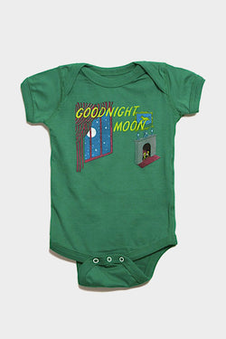 out of print goodnight moon green baby onesie